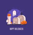 haunted graveyard halloween card vector image vector image