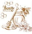 honey bees jar line art retro vintage old