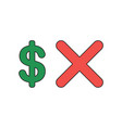 icon concept dollar with x mark vector image vector image