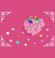 lover sitting on floating group of red heart vector image vector image