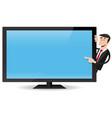 man pointing flat screen tv vector image