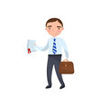 manager or agent showing paper document auto vector image