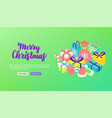merry christmas lettering banner vector image vector image