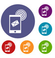 mobile mail sign icons set vector image vector image