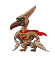 muscular pteronodon with angry face and red vector image vector image