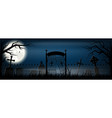 old scary cemetery with gravestones and crosses vector image
