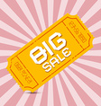 Orange Big Sale Paper Ticket on Pink Background vector image
