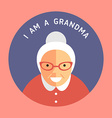 Portrait Of Grandmother Flat Design Icon with Text vector image vector image