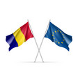 romania and european union waving flags vector image