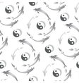 Seamless pattern with a fish and yin-yang vector image