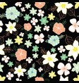 seamless repeat floral pattern on black background vector image vector image