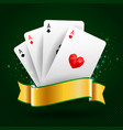 set four aces cards playing card suits vector image vector image