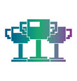 set of pixelated trophy award game vector image vector image