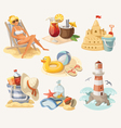 Set of summer beach elements vector image vector image