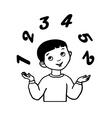 Sketch little boy juggles vector image