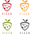 slice of pizza with leaf design template vector image vector image