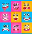 smiley faces with different expressions set vector image vector image
