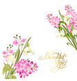 spring time concept of card with blooming flowers vector image