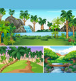three scenes of river and waterfall vector image vector image