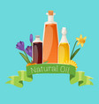 vegetal oil bottles with flowers and banner with vector image