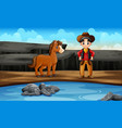 wild west scene with cowboy and his horse vector image vector image