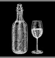 wine bottle and a glass wine hand drawn sketch vector image