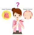 woman doubts about her chest pain vector image vector image