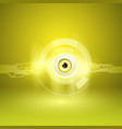 yellow background with eye and circuit vector image vector image