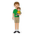 young father with son avatar character vector image