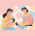 young mothers take care their children vector image vector image