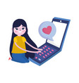 young woman using smartphone message love social vector image