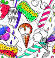 Funny Seamless Pattern Of Cartoon Ice Cream vector image