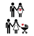 Pregnant bride icon bride with pram vector image