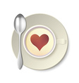 Coffee Cup with Spoon from Top vector image