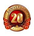 20 anniversary golden label with ribbon vector image vector image