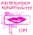 abstract bright pink font with lips vector image