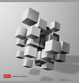 Abstract composition of white 3d cubes vector image vector image