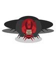 Alien ship invasion 3 big red robots with sign vector image vector image