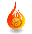 basketball on fire icon logo vector image