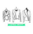 Black and white set with original leather jackets vector image vector image