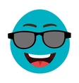 blue cartoon face with sunglasses graphic vector image vector image