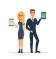 Businessman and business woman holding a tablet vector image vector image