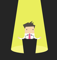 Businessman behind a podium with microphones vector image vector image