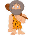cartoon caveman holding club vector image vector image