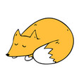 cartoon style of sleeping fox vector image vector image