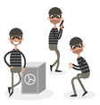 Cartoon thief character set isolated on white vector image vector image