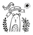 christmas greeting card with bear vector image
