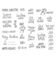 christmas lettering phrases set vector image