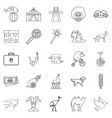 circus with animals icons set outline style vector image vector image