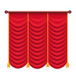 classic heavy red drape with gold tie back vector image vector image